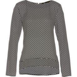 Bluzki damskie: Bluzka z zamkiem bonprix czarno-biały z nadrukiem