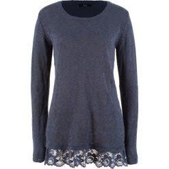 Sweter z koronką, długi rękaw bonprix jagodowy. Fioletowe swetry klasyczne damskie marki DOMYOS, l, z bawełny. Za 59,99 zł.