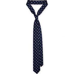 Krawat granatowy w kwiatki. Niebieskie krawaty męskie LANCERTO, w kwiaty, z mikrofibry, eleganckie. Za 79,90 zł.