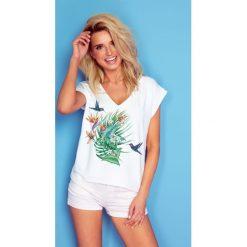 Bluzka t-shirt flower k173. Białe bluzki asymetryczne Knitis, m, z dzianiny, z klasycznym kołnierzykiem. Za 69,00 zł.