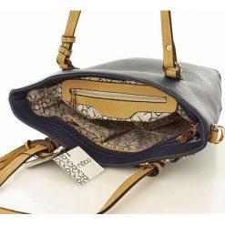 NOBO Trapezowa torebka na ramię granatowy. Brązowe shopper bag damskie marki Nobo, w paski, ze skóry ekologicznej. Za 159,00 zł.