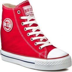 Sneakersy BIG STAR - U274905 Red. Szare sneakersy damskie marki BIG STAR, z materiału, na sznurówki. Za 99,00 zł.