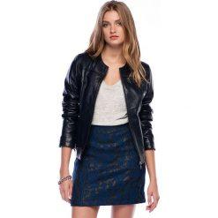 Odzież damska: Skórzana kurtka w kolorze granatowym