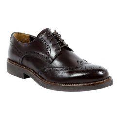 Buty wizytowe męskie: Skórzane półbuty w kolorze ciemnobrązowym