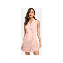 Różowa sukienka dwurzędowa z frędzelkami. Czerwone sukienki balowe Bien fashion, s, z materiału, z kopertowym dekoltem, bez rękawów, mini, kopertowe. Za 179,00 zł.