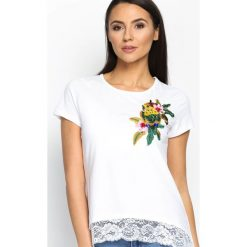 T-shirty damskie: Biały T-shirt Parrot In The Jungle