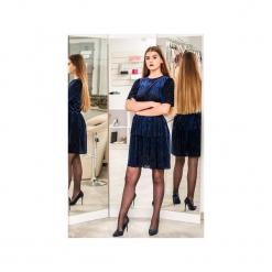 Sukienka STYL. Niebieskie sukienki balowe marki 3 for u, na co dzień, l, z tkaniny, z klasycznym kołnierzykiem. Za 176,00 zł.