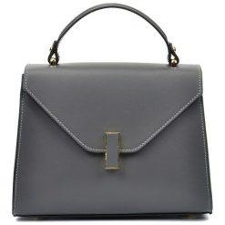 Torebki klasyczne damskie: Skórzana torebka w kolorze szarym – (S)20 x (W)24 x (G)10 cm