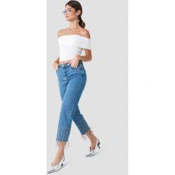 Trendyol Jeansy z wysokim stanem i detalami - Blue. Niebieskie spodnie z wysokim stanem marki Trendyol, z jeansu. W wyprzedaży za 141,98 zł.