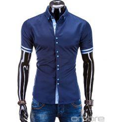 KOSZULA MĘSKA Z KRÓTKIM RĘKAWEM K260 - GRANATOWA. Brązowe koszule męskie na spinki marki Ombre Clothing, m, z aplikacjami, z kontrastowym kołnierzykiem, z długim rękawem. Za 49,00 zł.