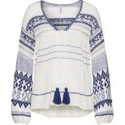 Swetry klasyczne damskie: Sweter dzianinowy bonprix biało-niebieski