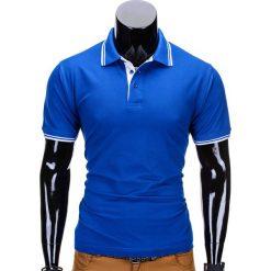 KOSZULKA MĘSKA POLO BEZ NADRUKU S710 - NIEBIESKA. Zielone koszulki polo marki Ombre Clothing, na zimę, m, z bawełny, z kapturem. Za 49,00 zł.