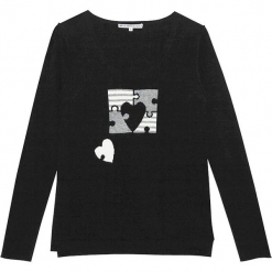 Sweter kszmirowy w kolorze czarnym. Czarne swetry klasyczne damskie marki Ateliers de la Maille, z kaszmiru, z okrągłym kołnierzem. W wyprzedaży za 500,95 zł.