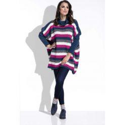 Amarantowy Sweter Oversizowy w Paski z Golfem. Niebieskie paski damskie marki Molly.pl, na co dzień, l, z elastanu, z klasycznym kołnierzykiem, oversize. Za 141,90 zł.