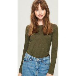Bluzki damskie: Gładka bluzka - Khaki