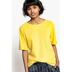 Bluza, okrągły dekolt, krótki rękaw. Szare bluzy damskie marki La Redoute Collections, m, z bawełny, z kapturem. Za 70,52 zł.