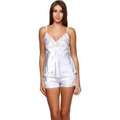 Piżamy damskie: Piżama w kolorze białym - koszulka, spodenki