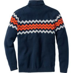 Sweter z golfem Regular Fit bonprix ciemnoniebieski. Zielone golfy męskie marki bonprix, w kropki, z kopertowym dekoltem, kopertowe. Za 109,99 zł.