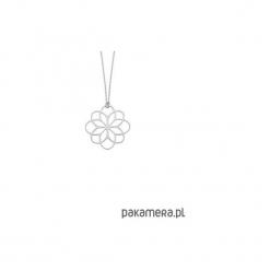 Srebrny naszyjnik z rozetą. Szare naszyjniki damskie marki Pakamera, srebrne. Za 129,00 zł.