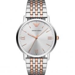 Zegarek EMPORIO ARMANI - Kappa AR11093  2-Tone/Silver/Rose Gold/Silver. Szare zegarki męskie marki Emporio Armani, l, z nadrukiem, z bawełny, z okrągłym kołnierzem. Za 1149,00 zł.