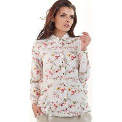 Ecru Koszulowa Bluzka w Drobne Kwiatki z Falbankami. Czerwone bluzki koszulowe marki Molly.pl, l, w kwiaty, z jeansu, eleganckie. Za 128,90 zł.
