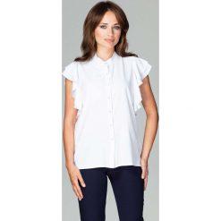 Biała Koszulowa Bluzka z Falbankowym Rękawem. Białe bluzki koszulowe marki Born2be, s, z koronki, z długim rękawem. Za 128,90 zł.