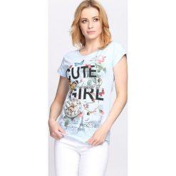 Ciemnoniebieski T-shirt Cute Girl. Niebieskie bluzki damskie marki Born2be, l. Za 19,99 zł.