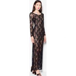 Sukienki: Sukienka Wieczorowa Maxi z Czarnej Koronki
