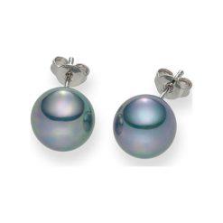 Kolczyki damskie: Kolczyki-wkrętki z perłami w kolorze niebieskim