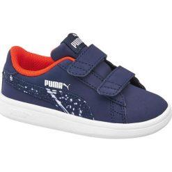 Buty dziecięce Puma Smash Puma granat. Białe buciki niemowlęce chłopięce Puma, z gumy, na rzepy. Za 139,90 zł.