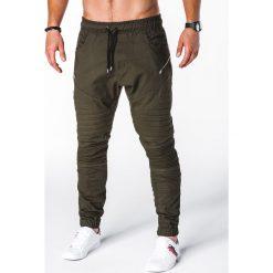 SPODNIE MĘSKIE JOGGERY P709 - KHAKI. Brązowe joggery męskie Ombre Clothing. Za 79,00 zł.