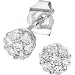 Złote kolczyki-wkrętki z diamentami. Szare kolczyki damskie REVONI, z diamentem, złote. W wyprzedaży za 861,95 zł.