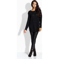 Swetry klasyczne damskie: Czarny Sweter w Warkocze z Rozcięciami na Bokach
