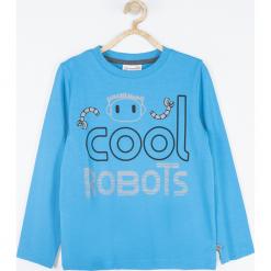 Koszulka. Niebieskie t-shirty chłopięce z długim rękawem COOL ROBOTS, z nadrukiem, z bawełny. Za 45,90 zł.