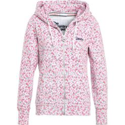 Bluzy damskie: Superdry LABEL ZIPHOOD Bluza rozpinana ice marl/pink bloom