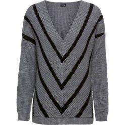 Sweter bonprix szary melanż - czarny w paski. Szare swetry klasyczne damskie bonprix, z dekoltem w serek. Za 99,99 zł.