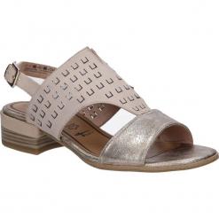 Sandały skórzane na słupku Tamaris 1-28202-28. Szare sandały damskie na słupku marki Tamaris, z materiału. Za 169,99 zł.