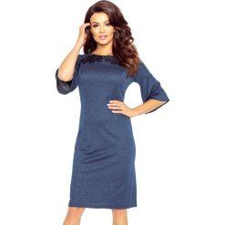 GABRIELA klasyczna i wygodna sukienka GRANAT. Niebieskie sukienki balowe Bergamo, z materiału, z klasycznym kołnierzykiem, rozkloszowane. Za 105,00 zł.