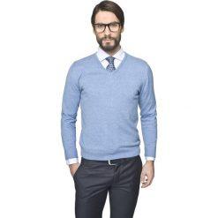 Sweter nagel w serek niebieski. Niebieskie swetry klasyczne męskie Recman, m, z dekoltem w serek. Za 169,00 zł.