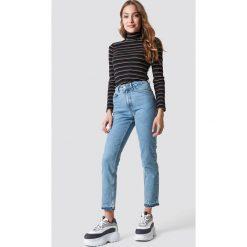 NA-KD Jeansy Open Hem - Blue. Niebieskie spodnie z wysokim stanem NA-KD, z jeansu. Za 202,95 zł.