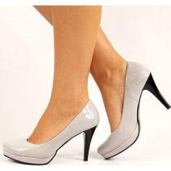 Buty ślubne damskie: Szare lakierowane czółenka szpilki na platformie Monique