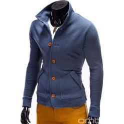 BLUZA MĘSKA ROZPINANA BEZ KAPTURA CARMELO - JEANSOWA. Szare bluzy męskie rozpinane marki Ombre Clothing, m, z bawełny, bez kaptura. Za 69,00 zł.
