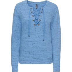 Bluzy damskie: Bluza ze sznurowaniem bonprix niebieski melanż