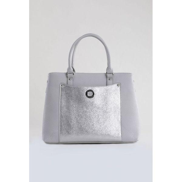 606d5ac6419ff Torebka z błyszczącą kieszenią - Szare torebki klasyczne damskie Monnari