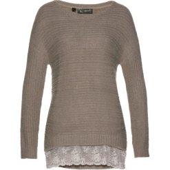 Swetry damskie: Sweter z koronką bonprix brunatny