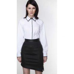 Bielizna damska: Biała Biznesowa Koszula z Czarną Lamówką