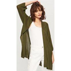 Swetry damskie: Luźny kardigan – Khaki