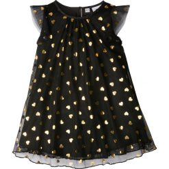 Sukienki dziewczęce: Sukienka z brokatowym nadrukiem bonprix czarno-złoty z nadrukiem