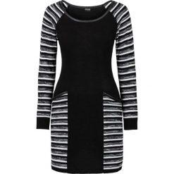 Sukienki dzianinowe: Sukienka dzianinowa bonprix czarno-biel wełny
