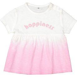Bluzki dziewczęce bawełniane: Koszulka z okrągłym dekoltem i nadrukiem Oeko Tex 1 m-c - 3 lata